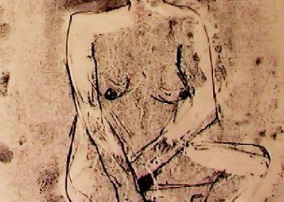 nude seated - monoprint