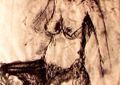 seated nude - monoprint