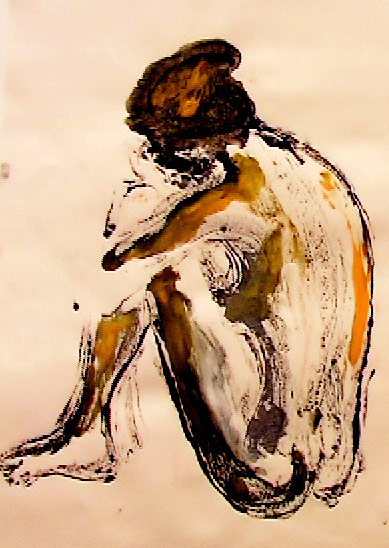 seated nude - chinese ink and gouche
