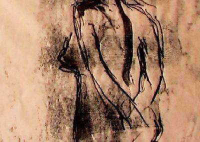standing nude - monoprint